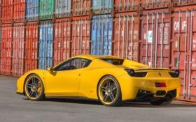 Обои Авто, Желтый, Машина, spider, Ferrari, 458, Italia