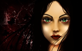 Картинка взгляд, стекло, волосы, Игра, арт, Алиса, зеленые глаза