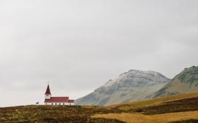 Обои поле, горы, дом, одиночество, долина, церковь