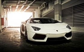 Картинка Lamborghini, суперкар, white, box, Aventador, гараж.