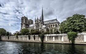 Картинка пейзаж, река, Франция, Париж, Собор Парижской Богоматери, остров Сите