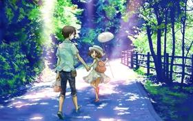 Картинка лес, лето, деревья, радость, мальчик, сачок, девочка