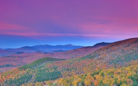 Обои осень, лес, небо, горы, склон, зарево