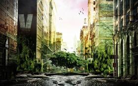 Обои зелень, вода, птицы, фантастика, заросли, улица, дома