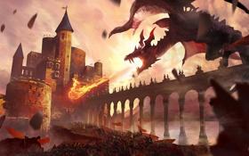 Картинка небо, облака, мост, замок, огонь, магия, дракон