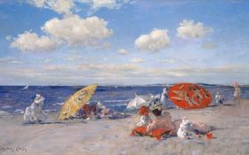 Картинка море, небо, пейзаж, отдых, лодка, картина, зонт