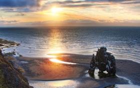 Обои sunset, rocks, dawn, Sea, Cliff, erosion