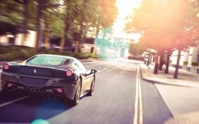 Картинка солнце, блики, улица, чёрная, Ferrari, феррари, 458