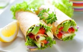 Картинка лимон, овощи, огурцы, салат, лаваш, красный перец