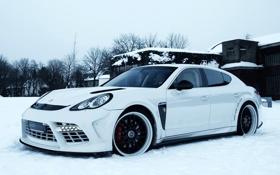 Обои зима, машина, снег, porsche, panamera, edo competition, купе-седан