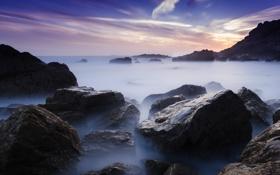Картинка море, пляж, камни, скалы, выдержка, Австрия