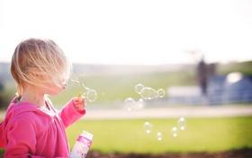 Обои пузыри, настроение, девочка