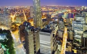 Картинка ночь, город, огни, река, небоскреб, Нью-Йорк, Бруклин