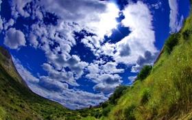 Обои поле, небо, трава, облака, панорама