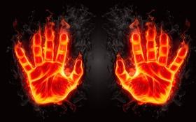 Обои огонь, ладонь, рука, пламя