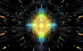 Обои свет, центр, Glass Blast