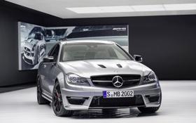 Картинка Mercedes-Benz, Лого, Серебро, Фары, AMG, C63, Люкс