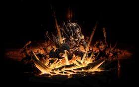 Обои огонь, варвар, окружен, секиры, скил, diablo 3, доспехи