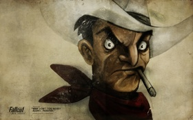 Обои шляпа, сигарета, ковбой, Fallout, New Vegas