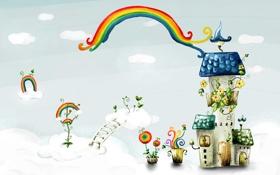 Картинка облака, цветы, фантазия, лестница, домики, радуги