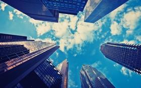 Картинка небо, облака, город, вид, ракурс, небоскрёб