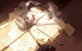 Картинка ноты, скрипка, листы, Парень, тетрадь