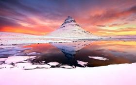 Картинка зима, снег, озеро, гора, утро, Исландия, Kirkjufell