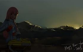 Картинка девушка, солнце, закат, горы, аниме, арт, рюкзак