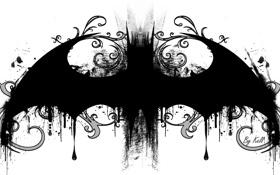 Обои batman, рисунок, логотип, мышь, летучая