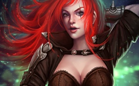 Обои рыжая, League of Legends, Katarina, LOL, Sinister Blade
