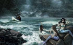 Обои море, камни, фантастика, океан, корабль, арт, русалки