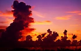 Картинка облака, город, Небо, горизонт