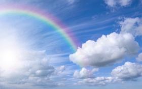 Обои небо, облака, природа, радуга, rainbow, sky, nature