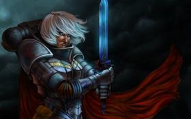 Картинка девушка, красный, меч, арт, броня, плащ, Adepta Sororitas