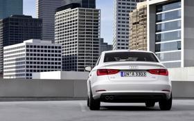 Обои Audi, Ауди, Город, Белый, Машина, День, Здания