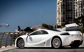 Картинка белый, дизайн, город, стильно, форма, спорткар, дорого