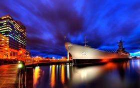 Обои ночь, корабль, Город