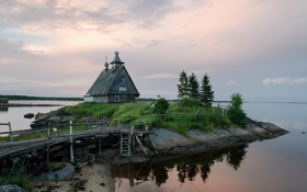 Картинка пейзаж, мост, дом, остров