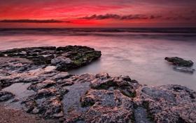 Обои пейзаж, природа, камни, океан, рассвет