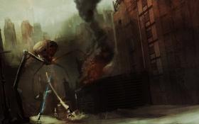 Обои дым, Робот, ракета, солдаты