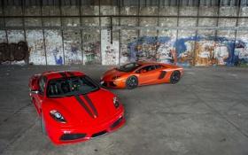 Обои скудерия, оранжевый, orande, f430 scuderia, lamborghini, ferrari, феррари