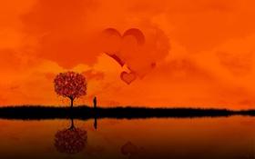 Картинка островок, Закат, сердца, озеро, человек