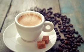 Обои кофе, зерна, чашка, cup, beans, coffee, коричневый сахар
