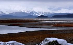 Обои зима, пляж, горы, озеро