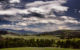 Картинка небо, облака, холмы, долина, горизонт, Монтана, Соединенные Штаты