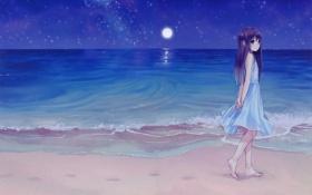 Обои море, пляж, девушка, ночь, луна, аниме, платье