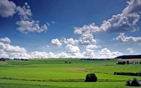 Обои небо, облака, деревья, поля, долина