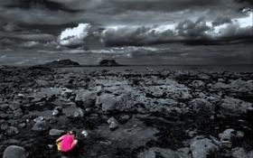 Картинка море, камни, девочка