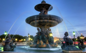 Обои вода, свет, брызги, город, Франция, Париж, вечер