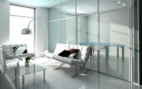 Обои стол, комната, диван, окно, переговоры